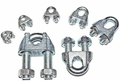 £2.90 • Buy Wire Rope Clamp Grip 3mm 5mm 6mm 8mm 10mm 12mm 16mm Steel U Bolt Clamps Cable