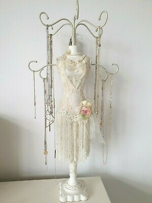 Beautiful Lace Pearl Lady Mannequin Jewellery Stand Tree Display Necklace Holder • 20£