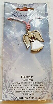 Guardian Angel Pendant- Austrian Crystal  Birthstone- February,  Necklace • 9.99£