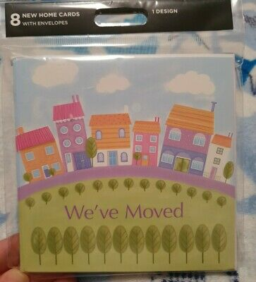 New Home Cards With Envelopes Pack Of 8 Moving Home • 2.99£