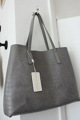 £25 • Buy Claudia Canova Light Grey Faux Leather Bag Croc Texture Tote Shopper Everyday
