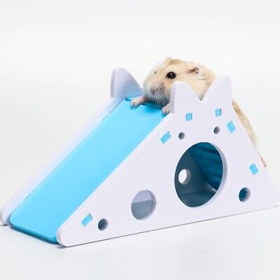 Hamster Hideout Wooden House With Ladder Slide Pet Exercise Toy Teeth Caring • 7.94£