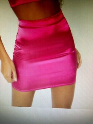 £8 • Buy Pretty Little Thing Pink Satin High Waisted Mini Skirt