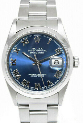 $ CDN7548.77 • Buy Rolex Datejust Stainless Steel Blue Roman Dial Mens 36mm Watch Y 16200