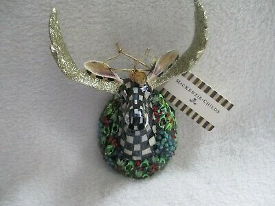 $94.50 • Buy New/Box MACKENZIE CHILDS Courtly Check MOOSE HEAD ORNAMENT - RETIRED!  #53910-51