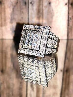 $39.99 • Buy Pinky Mens Bling Ring Icy Out 2.5ct Iced Diamond 14k White Gold Rings Size 6-10