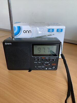 Onn AM/FM Pocket Digital Radio, Battery Powered, With Digital Clock And Alarm • 12.99£