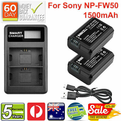 AU28.99 • Buy 2X NP-FW50 Battery Pack + USB LCD DUAL Charger For Sony Alpha A3000 A5000 A6300