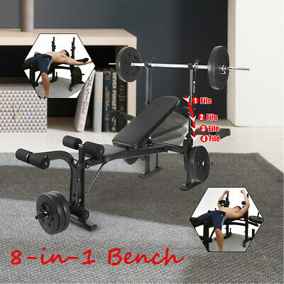 8-in-1 Folding Flat Weight Lifting Bench Body Workout Exercise Benches Home Gym • 159.99£