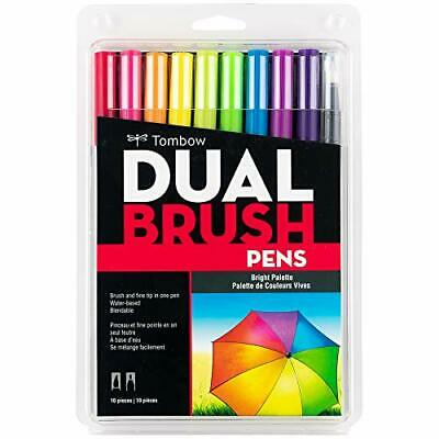Tombow 56185 Dual Brush Pen Art Markers Bright 10-Pack. Blendable Brush And F... • 13.54£