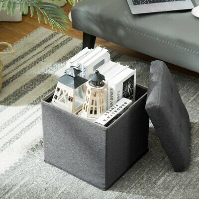 Foldable Storage Box Ottoman Pouffe Seat Stool Home Chair Storage Footstool  • 12.99£