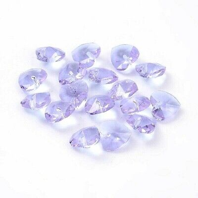 £2.60 • Buy 10 X Crystal Glass Faceted Lilac Heart Pendant Charm 10mm