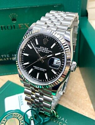 $ CDN14368.66 • Buy Rolex Datejust 36mm 126234 Black Baton Dial With Papers 2020 UNWORN