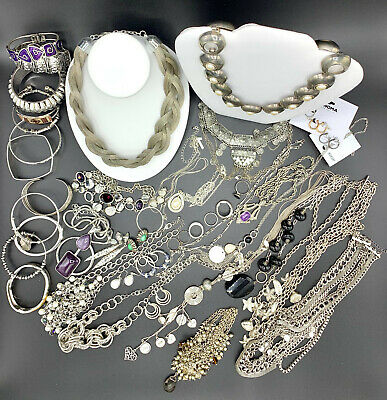 $ CDN115.20 • Buy 3 Lb Vintage To Modern Silver Tone Wearable Jewelry Lot 44 Pieces Some Signed D1