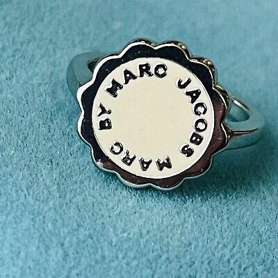 £12.74 • Buy Marc By Marc Jacobs Silver Tone Ring With Ivory Enamel Size 7