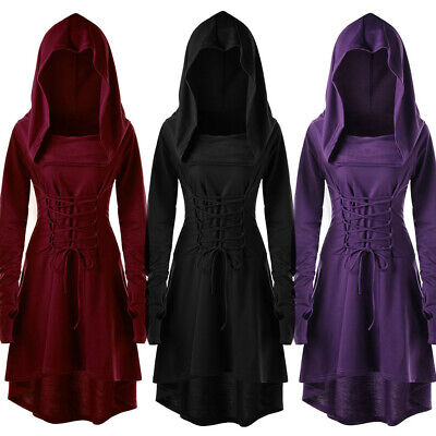Women's Gothic Lace Up Hooded Vintage Pullover High Low Bandage Cloak Long Dress • 18.20£