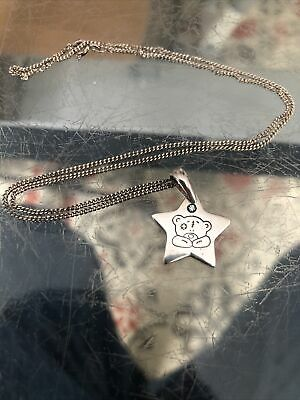 £12 • Buy STERLING SILVER Me To You Bear Pendant Necklace 925 Star & Chain Blue Stone
