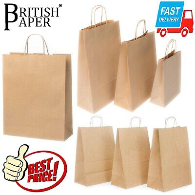 £1.89 • Buy Brown Paper Bags With Handles Small Large 100 50 25 For Party Gift Sweet Carrier