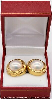 $1199.99 • Buy Mikimoto 18K Yellow Gold 12.5mm Mabe Pearl Clip Earrings