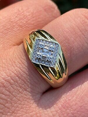 $28.78 • Buy Real Solid 925 Sterling Silver & 14k Gold Iced CZ Ring Mens Ladies Hip Hop 6-13