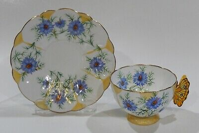 £416 • Buy Rare 1930s Aynsley BUTTERFLY HANDLE CORNFLOWER CUP & SAUCER Hand Painted Details