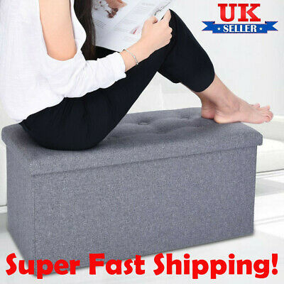 Grey Linen Folding Storage Ottoman Pouffe Seat Foot Stool Storage Box Uk • 17.99£