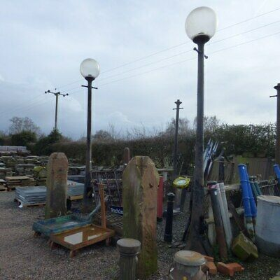 Antique Cast Metal Lamp Posts Post Reclaimed From Liverpool Docks Globe Top • 645£