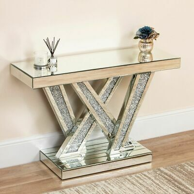 £318.99 • Buy Mirrored Console Table Crushed Diamond Living Room Crystal Venetian Mantle Unit