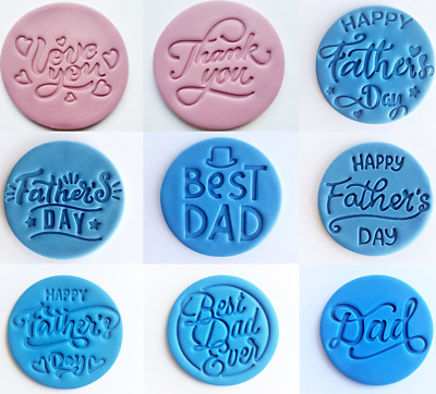 £4.95 • Buy Happy Father's Day, Love, Thank You Embosser Stamp For Fondant Cupcake Cake