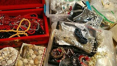 $ CDN95.15 • Buy Huge Vintage To Now Mixed Jewelry Lots Silver Rhinestones Gold Pearls Quality