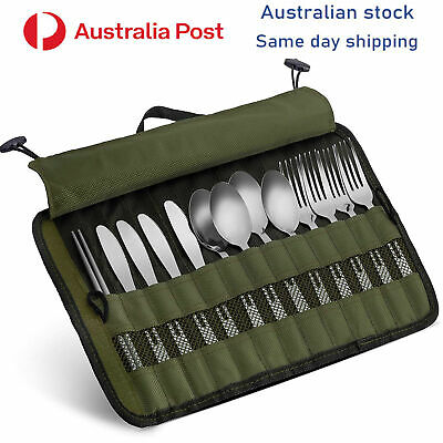 AU29.99 • Buy Camping Cutlery 13pc Set Portable Fold Up Carry Pack Stainless Steel Outdoor