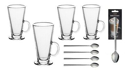 £10.97 • Buy LARGE TALL LATTE GLASSES Mug Cup Cappuccino Tea Coffee Chocolate Drink Spoons