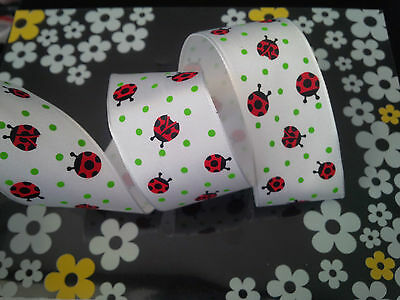 1m Ladybird Ladybugs Spotty White Wired Ribbon Cakes, Bows, Gifts, Decorations  • 1.70£