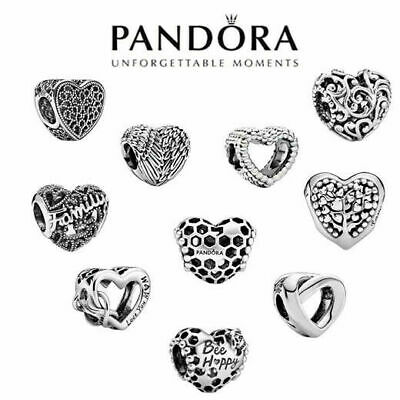 PANDORA S925 New Silver With Pandora & Gift Charm Heart Genuine ALE Brand UK • 10.98£