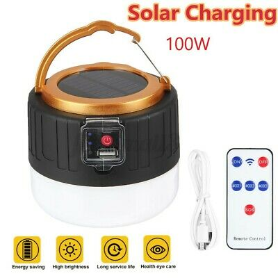 AU17.49 • Buy Rechargeable 100W Solar LED Camping Tent Light Remote Waterproof USB Hiking Lamp