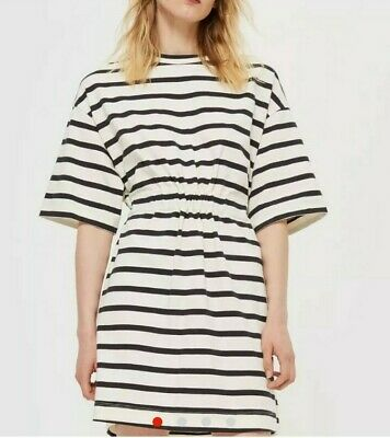 £18 • Buy Topshop Boutique Black And White Stripe Nautical Jersey Dress With Tie Bow SZ 8