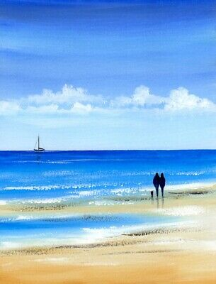 SEASCAPE WATERCOLOUR PAINTING, Our Beach Walk, Sea, Dog, Sarah Featherstone ART • 12£