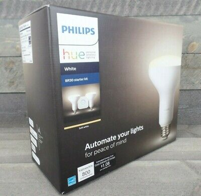 AU58.06 • Buy Philips Hue White Only BR30 Starter Kit (2 Bulbs And Bridge) NEW SEALED!