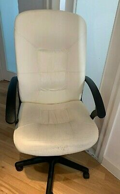 IKEA Verner White Leather Executive Adjustable Office Swivel Chair Black Arms   • 35.99£