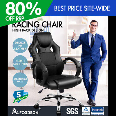 AU109.95 • Buy ALFORDSON Gaming Office Chair Racing Executive Computer PU Leather Mesh Seat