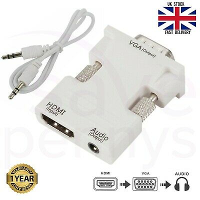 1080P HDMI Female To VGA Male With Audio Output Cable Converter Adapter Lead UK • 3.49£