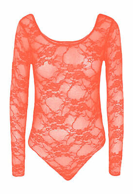 New Women's Coral Long Sleeve Lace Floral Bodysuit Stretch Leotard Body Top • 2.99£
