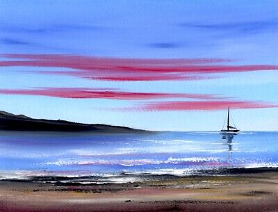 WATERCOLOUR PAINTING SEASCAPE, Beach Dawn Sky, Sea, Sand, Sarah Featherstone Art • 12£