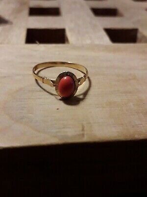 £129 • Buy 18ct Gold Vintage Oval Solitaire Coral Ring, 2g Total Weight Approx Size P-Q