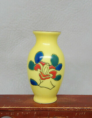 Vintage Japanese Yellow Imari Porcelain Floral Vases Dollhouse Miniature 1:12 • 17.91£