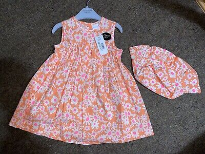 Blue Zoo Debenhams Baby Girl 2 Piece Set Floral Dress And Hat 9-12 Months • 3.99£