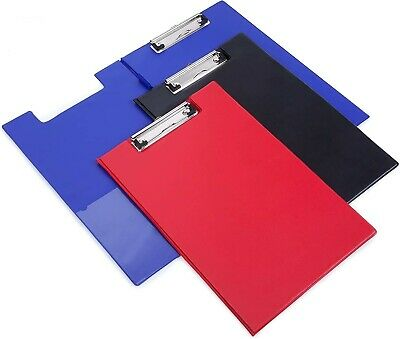 A4 Clipboard Solid Fold-Over New Office Document Holder Filing Black Blue Red  • 2.95£