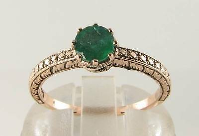 £239 • Buy Lush 9k 9ct Rose Gold Colombian Emerald Art Deco Solitaire Ins Ring Free Size