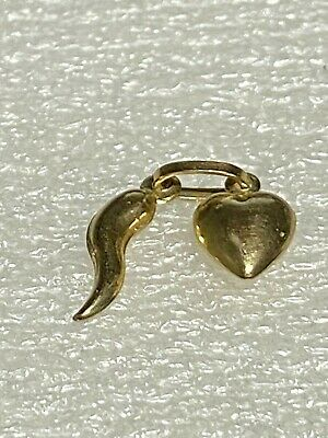 9 Ct Gold   New Gold Twin Pendant     Heart With Horn Of Plenty • 28£