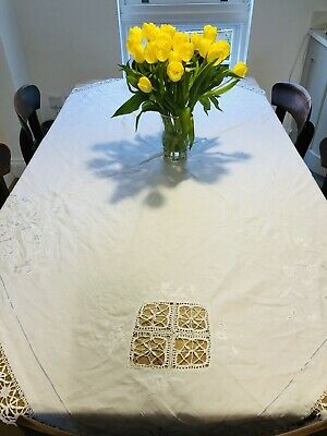 Vintage Lace And Embroidered Tablecloth Embroidered With Pale Blue Detailing • 2.40£